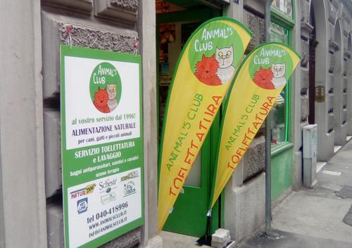 Bandiere pubblicitarie per negozi di animali
