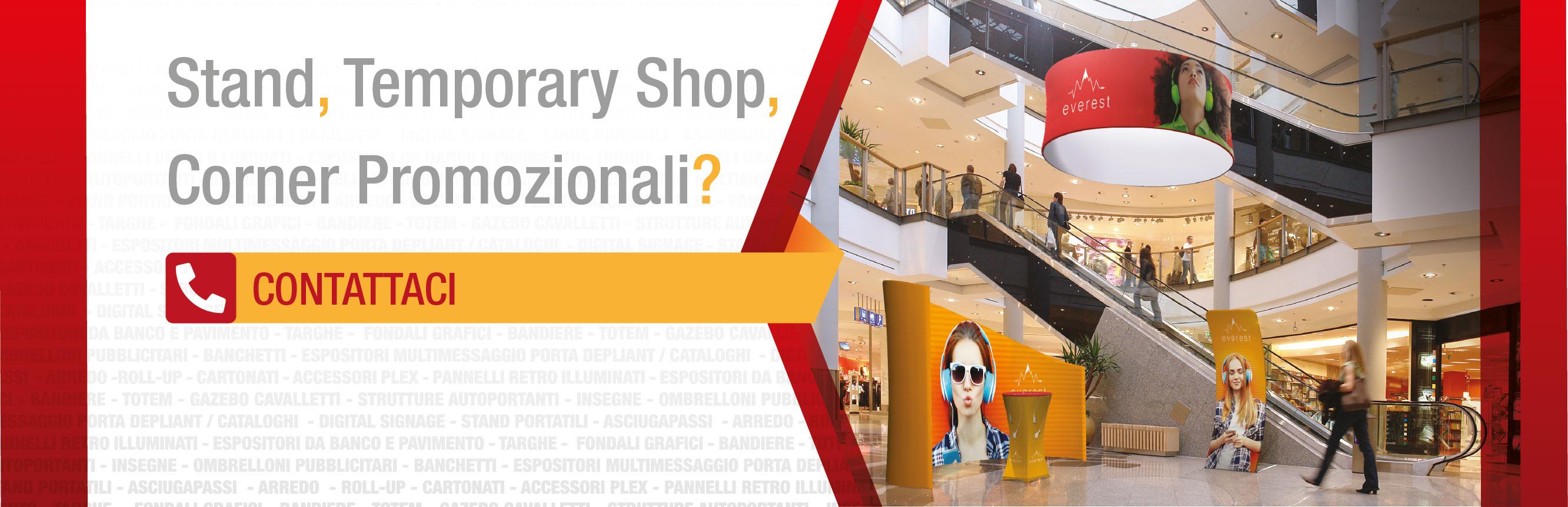 stand portatili temporary store corner promozionali banner