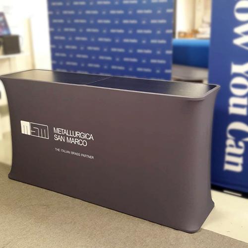 Banchetto Desk Reception con stampa su tessuto