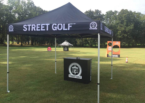 Gazebo promozionale Street Golf per eventi all'aperto