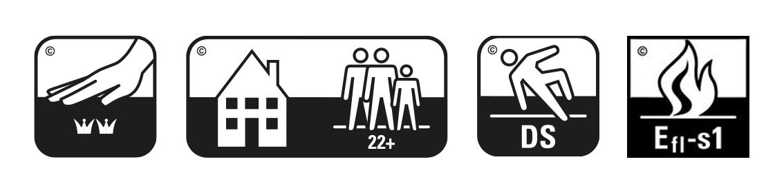 Icone certificazioni zerbino intarsiato