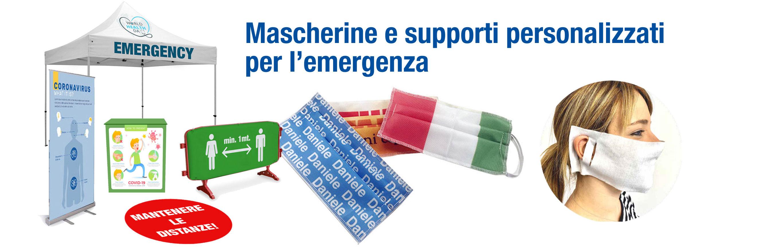 mascherine e supporti personalizzati emergenza sanitaria covid-19