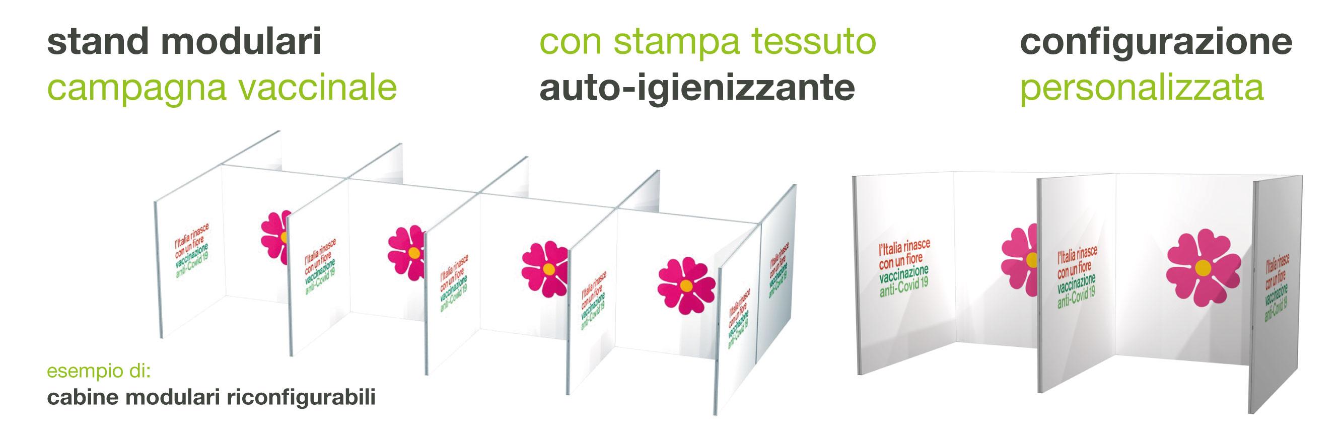 stand modulari con stampa auto igienizzante